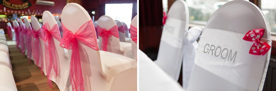 Wedding ceremony chair sashes