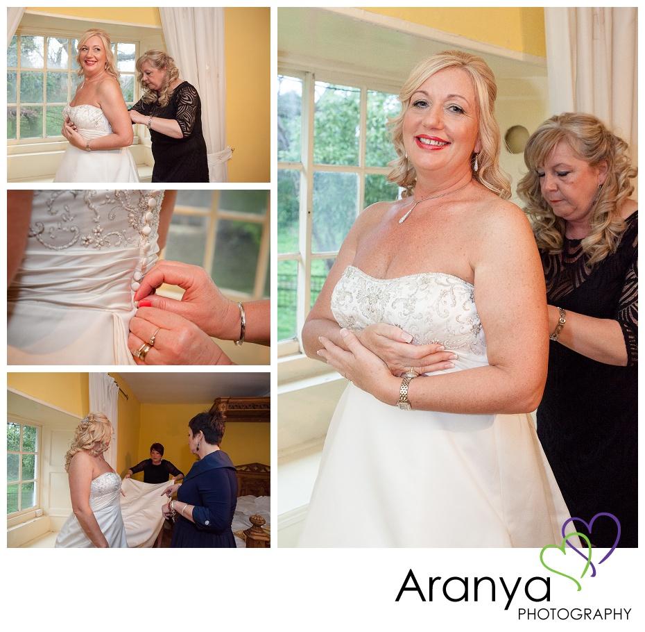 Bridal preparations at Salmestone Grange winter wedding