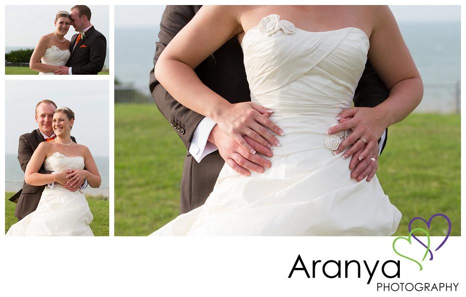 Bride and groom wedding day portraits at Walpole Bay hotel