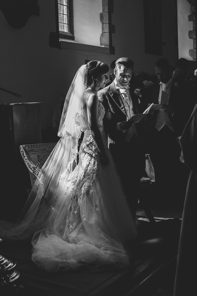 Stunning black and white wedding photography in Kent