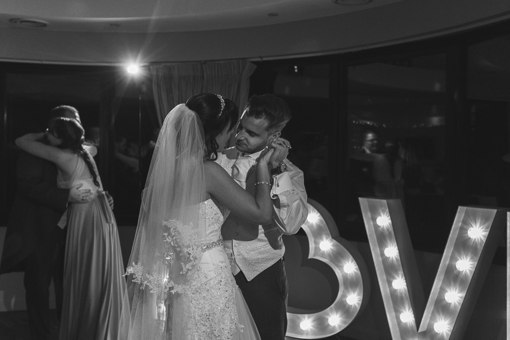 Romantic black and white wedding photography in Kent
