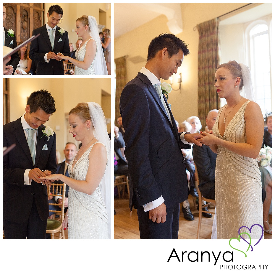 Fiona & Mike exchanging rings at Leeds Castle