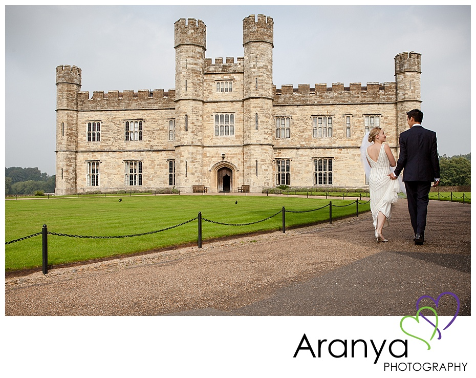 Bride and groom portraits at Leeds Castle