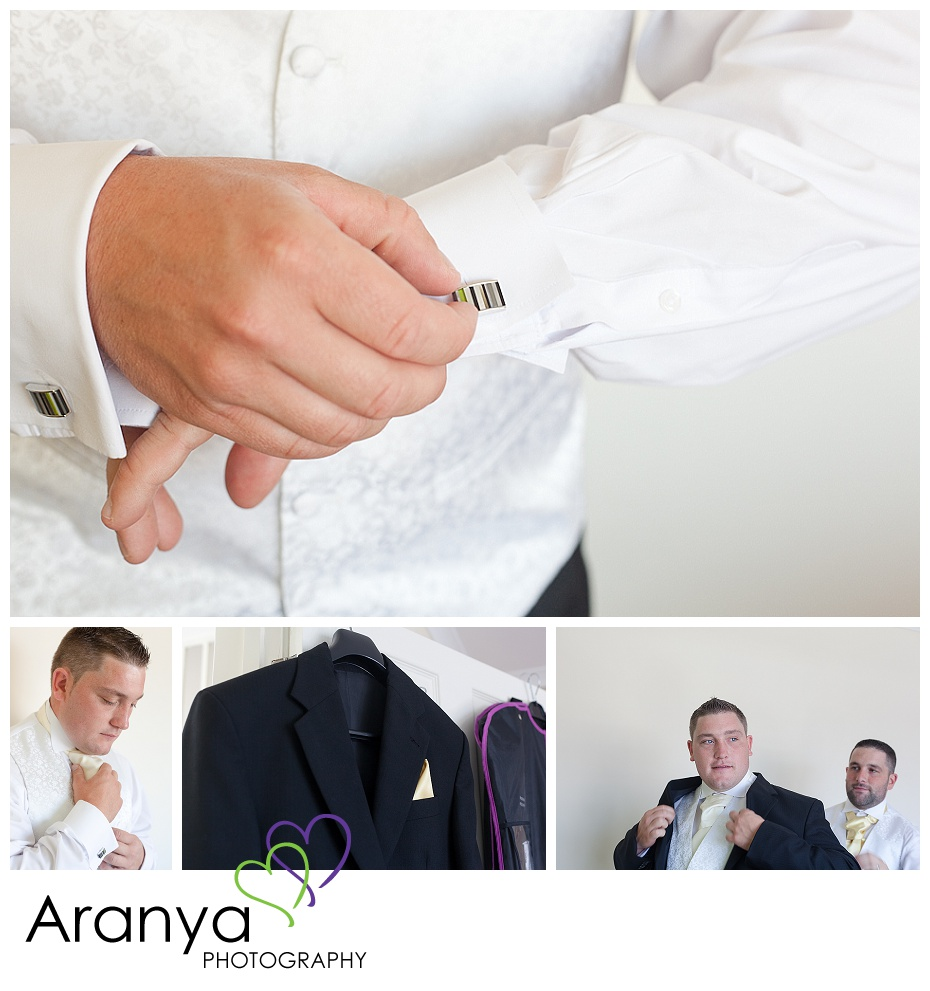 Groom wedding preparation photography